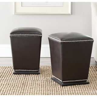Safavieh Mason Bicast Leather Brown Ottoman (Set of 2)