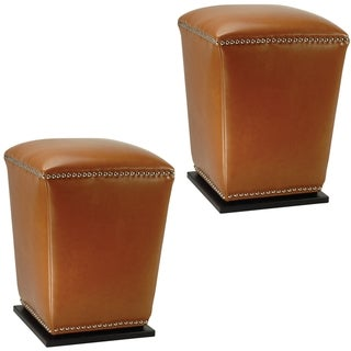 Safavieh Mason Bicast Leather Saddle Ottomans (Set of 2)