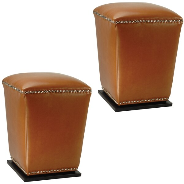 Safavieh Mason Storage Bicast Leather Saddle Ottomans (Set of 2)