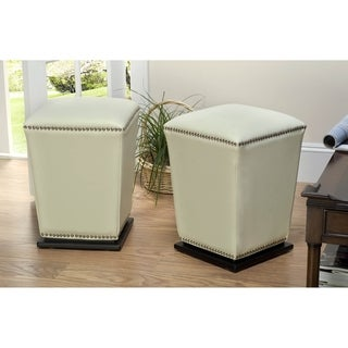 Safavieh Mason Bicast Leather Off White Ottoman (Set of 2)
