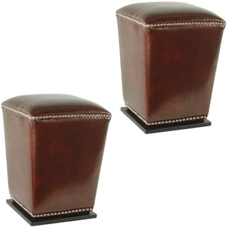 Safavieh Mason Bicast Leather Cordavan Ottomans (Set of 2)