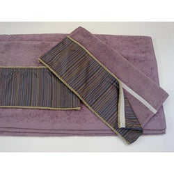 Sherry Kline 3-piece Purple Stripe Velcro Band Towel Set