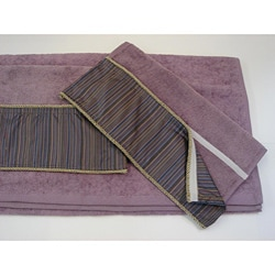 Sherry Kline Purple Stripe Velcro Band 3-piece Towel Set