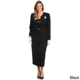Divine Apparel Women's Plus-Size Three-Piece Polyester/Spandex Skirt Suit