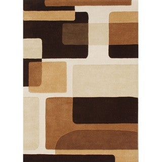 Hand-tufted Hidden Blocks Brown Wool Rug (5' x 8')