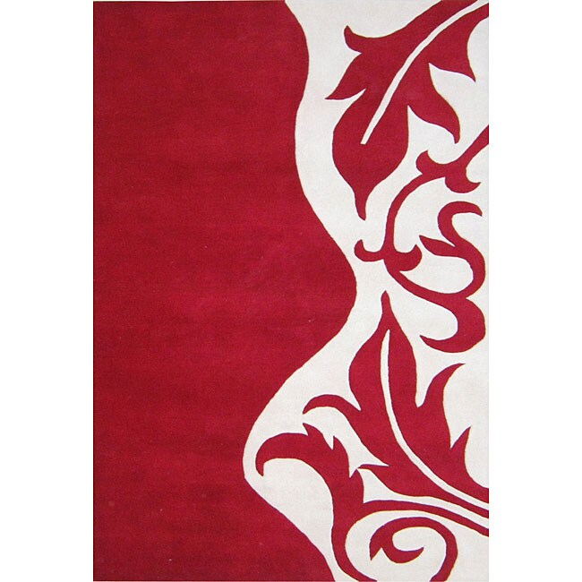 Hand-tufted 'Royal Quill' Red Wool Rug (5' x 8')