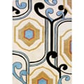Hand-tufted Contempo Diamonds Cream Wool Rug (5' x 8')