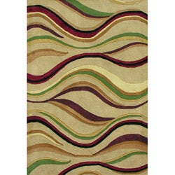 Hand-tufted Geo Stripes Beige Wool Rug (5' x 8')