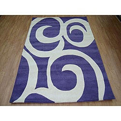 Hand-tufted Purple Modern Wool Rug (5' x 8')