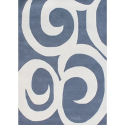 Alliyah Handmade Blue New Zealand Blend Wool Rug  (5' x 8')