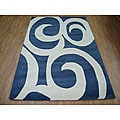 Hand-tufted Cool Grey Blue Modern Wool Rug (5' x 8')