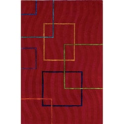 Hand-tufted Andy Contempo Red Wool Rug (5' x 8')