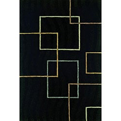 Hand-tufted Andy Contempo Black Wool Rug (5' x 8')