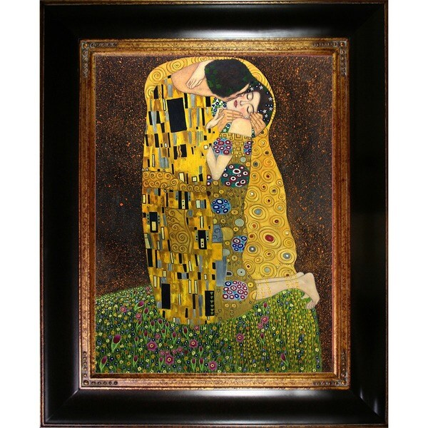 Gustav Klimt 'The Kiss (Full View)' Hand-painted Canvas Art
