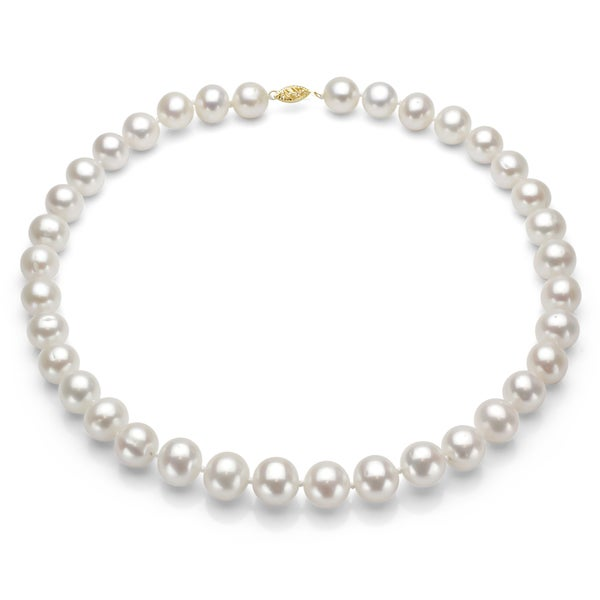DaVonna 14k Gold White High Luster FW Pearl Necklace (7.5-8 mm/ 24 in)