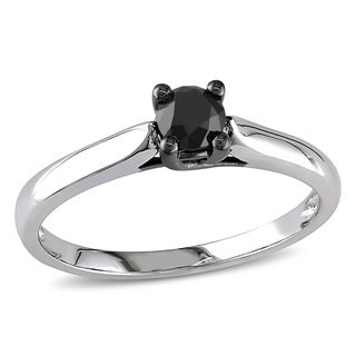 Miadora 10k White Gold 1/2ct TDW Black Diamond Solitaire Ring