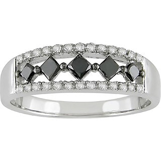 10k Gold 1/2ct TDW Black and White Diamond Ring (H-I, I2-I3)