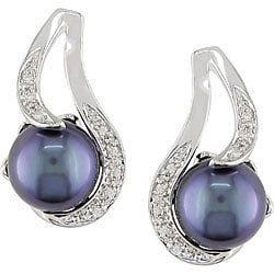 Miadora Sterling Silver Black Genuine Freshwater Pearl and Diamond Earrings (9-10 mm)