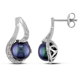 Miadora Sterling Silver Black Genuine Freshwater Pearl and Diamond Earrings (9-10 mm)