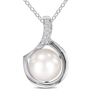 Miadora Sterling Silver FW Pearl and Diamond Necklace (9-10 mm) with Bonus Earrings