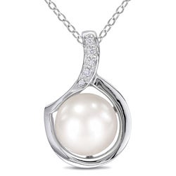 Miadora Sterling Silver FW Pearl and Diamond Necklace (9-10 mm)