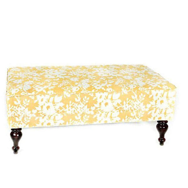 Angelo Home Cocktail Ottoman Yellow And White Floral 12155796 Shopping Great