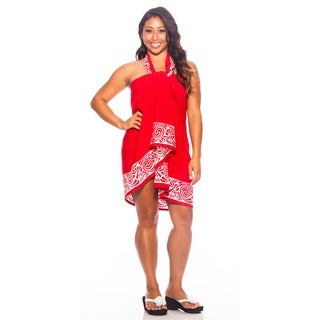 Women's Celtic Tribal Border Deep Red Sarong (Indonesia)
