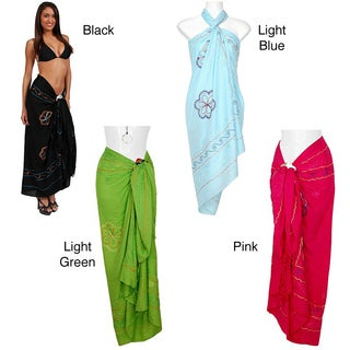 Triple-embroidered 100-percent Rayon Sarong - Hand-crafted in Indonesia