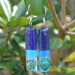 Glass 'Blue Moon Rising' Earrings (Chile)