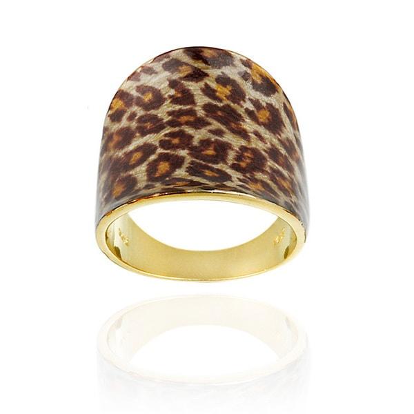 Glitzy Rocks 18k Gold/ Sterling Silver Leopard Print Ring