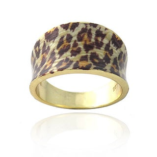 Glitzy Rocks 18k Gold over Sterling Silver Leopard Print Ring