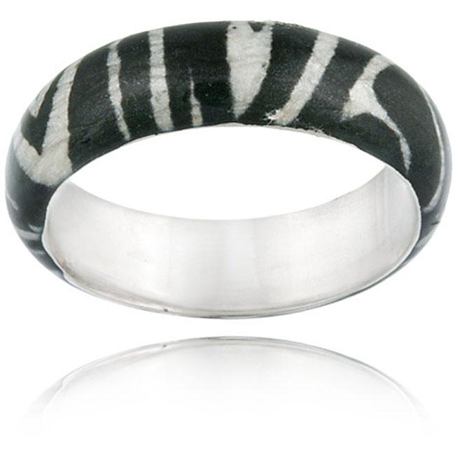 Glitzy Rocks Sterling Silver Black/White Enameled Zebra-print Fashion Ring