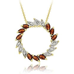 Glitzy Rocks 18k Gold over Silver Diamond/ Garnet Circle Necklace
