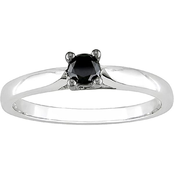 M by Miadora 10k White Gold 1/4ct TDW Black Diamond Solitaire Ring
