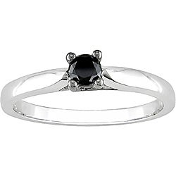 Miadora 10k White Gold 1/4ct TDW Black Diamond Solitaire Ring