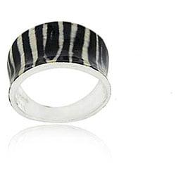 Glitzy Rocks Enamel-coated Silver Zebra Print Ring with 18-karat Overlay
