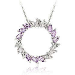 Glitzy Rocks Sterling Silver Diamond Accent Amethyst Circle Necklace