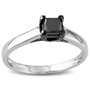 Miadora 10k White Gold 1/2ct TDW Black Princess-cut Diamond Solitaire Ring