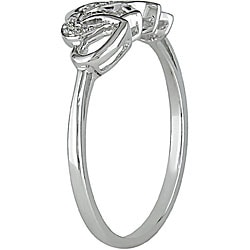 M by Miadora 10k White Gold Diamond Entwined Heart Ring
