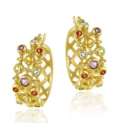 Glitzy Rocks 18k Gold over Sterling Silver Diamond and Gemstone Hoop Earrings