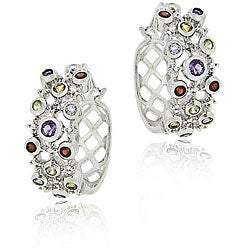 Glitzy Rocks Sterling Silver Diamond and Multi-gemstone Hoop Earrings