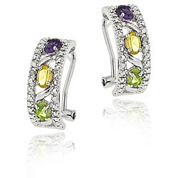 Glitzy Rocks Sterling Silver Diamond Multi-gemstone Half Hoop Earrings