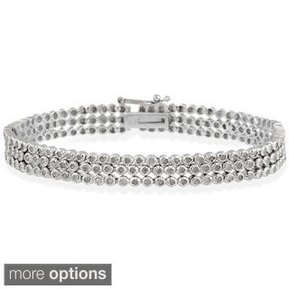 DB Designs Sterling Silver 2ct TDW Diamond 3-row Bracelet (I-J, I3)