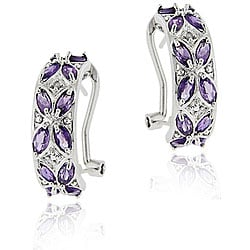 Glitzy Rocks Sterling Silver Amethyst and Diamond Half Hoop Earrings
