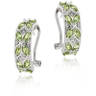 Glitzy Rocks Sterling Silver Peridot and Diamond Half Hoop Earrings