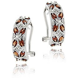 Glitzy Rocks Sterling Silver Garnet and Diamond Half-hoop Earrings