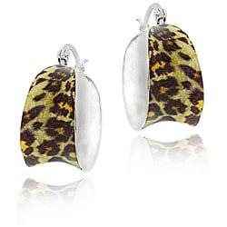 Glitzy Rocks Sterling Silver Enamel Leopard Print Hoop Earrings
