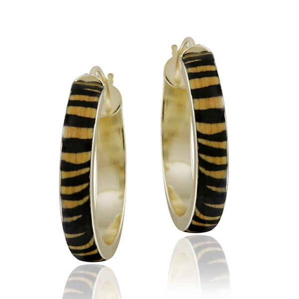 Glitzy Rocks 18k Gold over Sterling Silver Enamel Tiger Print Hoop Earrings