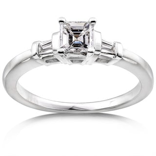 Annello 14k Gold 1/2ct TDW Asscher Diamond Engagement Ring (H-I, SI1-SI2)