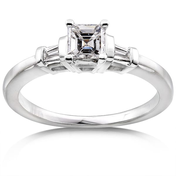 Annello 14k Gold 1/2ct TDW Asscher Diamond Engagement Ring (H-I, SI1-SI2)